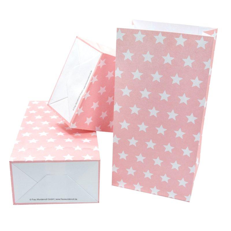 12 papiert ten mit boden rosa wei e sterne 100g papier. Black Bedroom Furniture Sets. Home Design Ideas