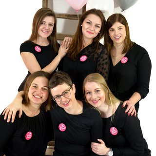 6 JGA Buttons pink, Team Braut