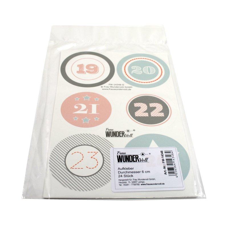 24 adventskalenderzahlen xl aufkleber pastell durchmesser