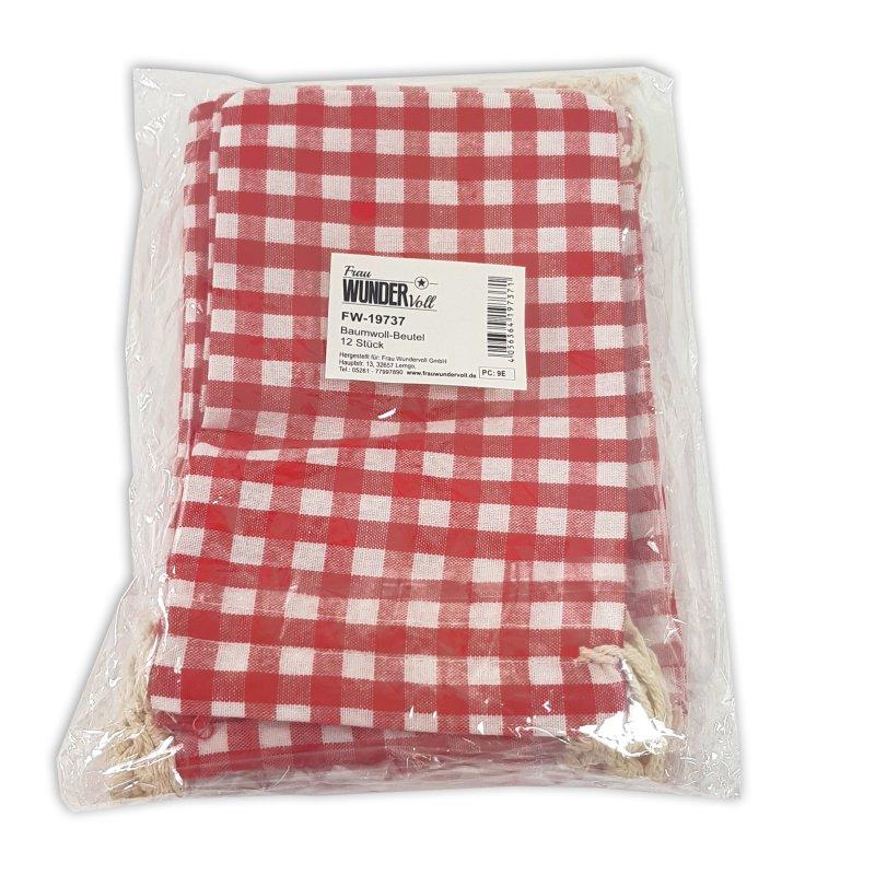 12 Geschenksäckchen rot//weiß kariert 20x12cm Baumwolle Adventskalender Beutel